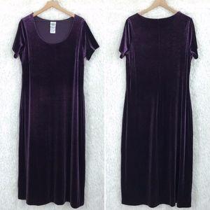 Velvet Maxi Dress Purple Vintage Laura Ashley